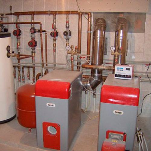 Монтаж котельной, установка напольного котла отопления Ferroli до 40 кВт
